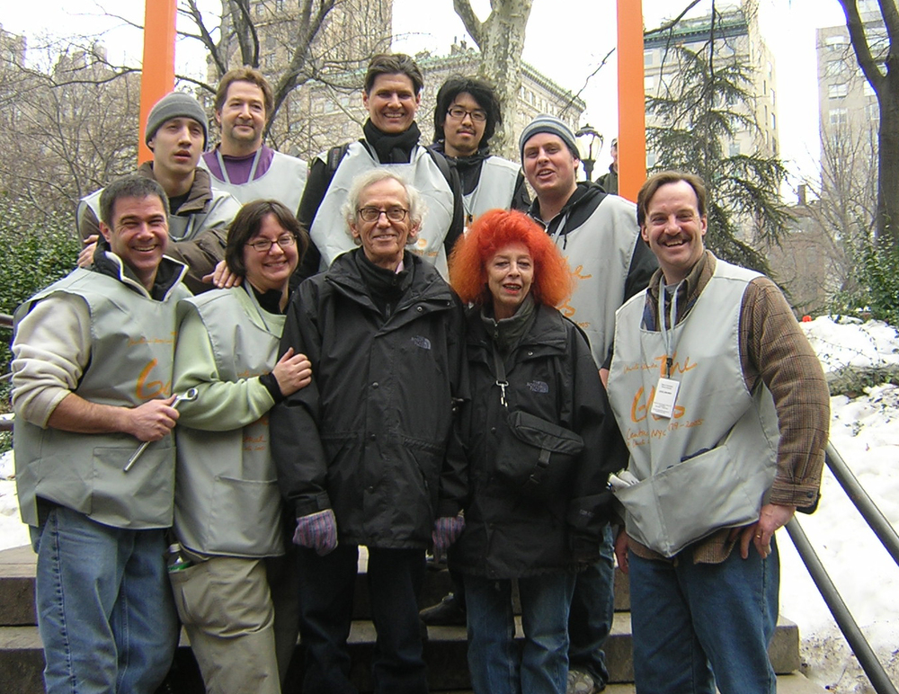 February 2005  The members of our installation team with Christo and Jeanne-Claude at the Gates Project on the lower east side of Central Park in New York. (Me far left)