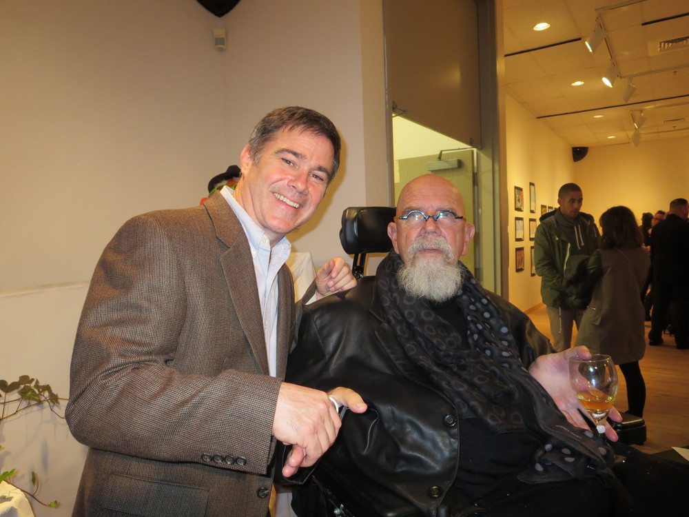 Photo by Sy Hirsch  Chuck Close and I at the art opening for the Turnaround Kids Exhibition in the Burt Chernow Gallery during the fall semester of 2013.