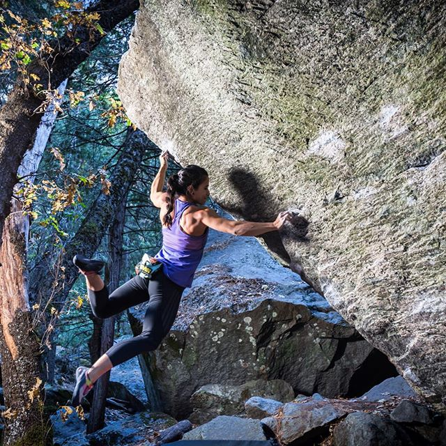 Athletes die young! Nina Williams (@sheneenagins) taking down classic boulders with stylez here in Yosemite Valley, CA. Photo: @amanelis - anyone getting out to Yosemite now that the colder weather has hit?!