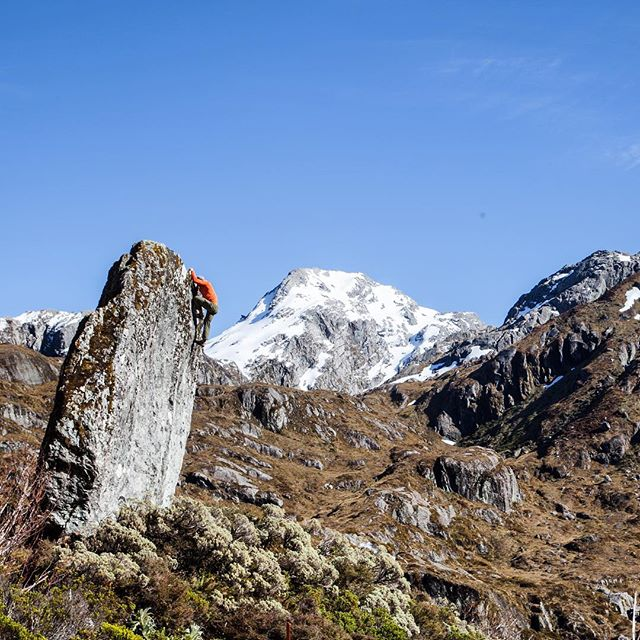 Photo by @paulinadao of @ajbaker3000 on a first ascent outside of Queenstown, New Zealand. Second photo today from that area.