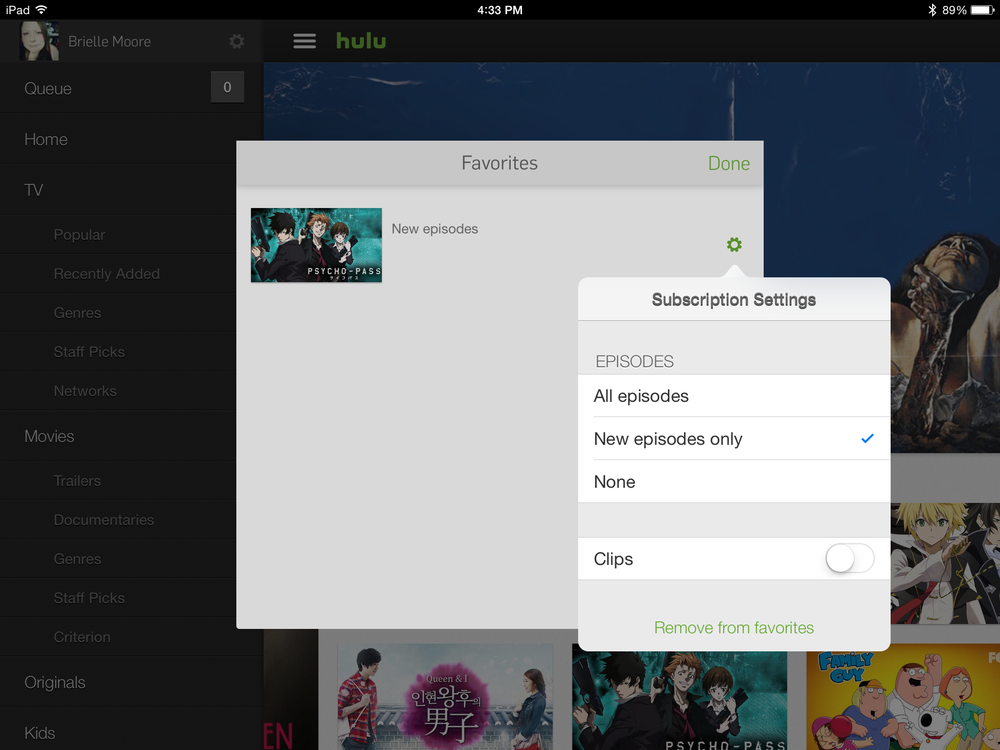 Hulu - Favoriting