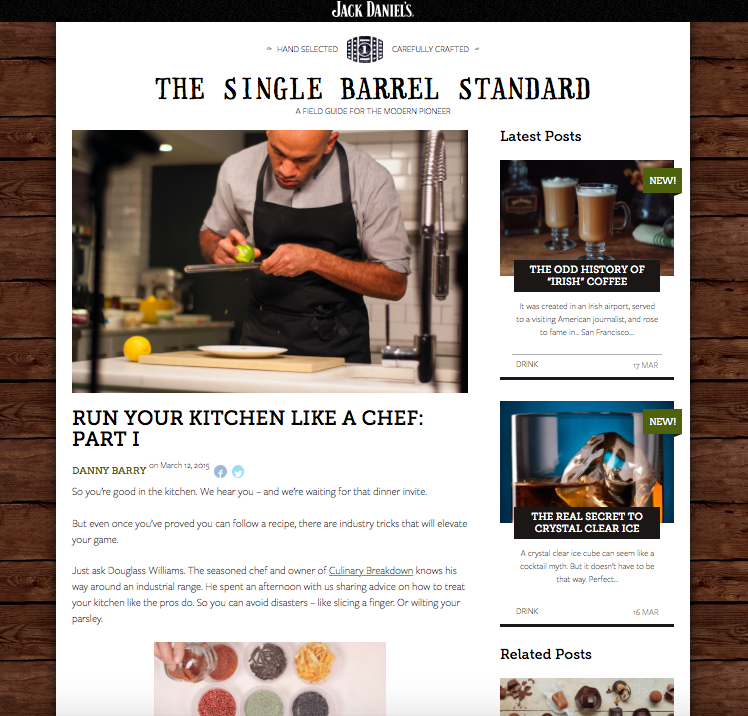 JACK DANIEL'S SINGLE BARREL     Douglass was recently featured in a 2 part series for the Jack Daniel's Single Barrel Standard Blog, where he shared his kitchen tips and tricks with the modern makers of the club. Check out the series here!      http://singlebarrel.jackdaniels.com/chef-tips/