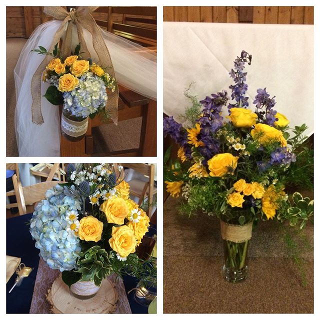 Some more cheery flowers from last night's wedding! #coloradowedding #thehistoricpinecrest #yellowroses #rusticwedding