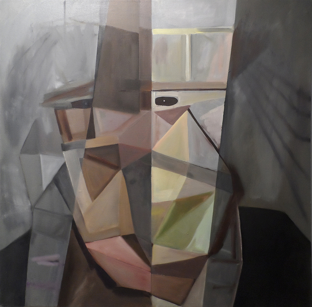 "Grey Mask  36"" x 36""  Oil on canvas  2012"