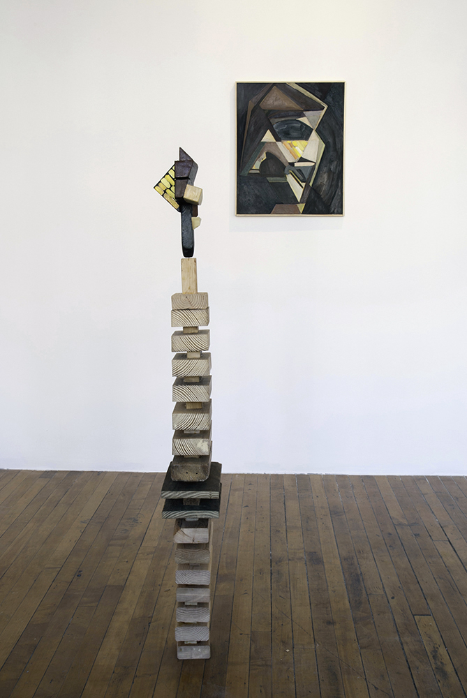 Installation view at ACRE Projects, Chicago IL  Oil on canvas and painted wood sculpture  2012