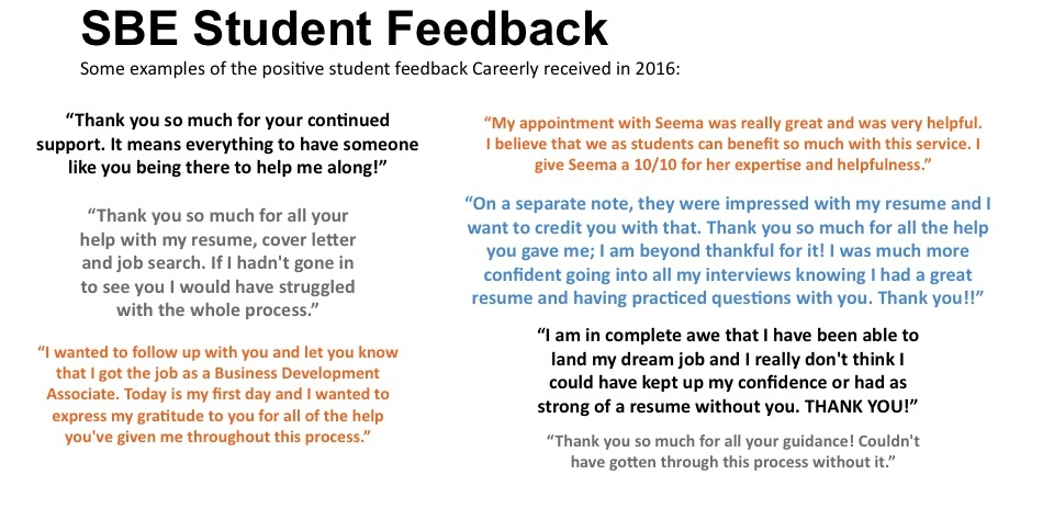 CUA student feedback slide