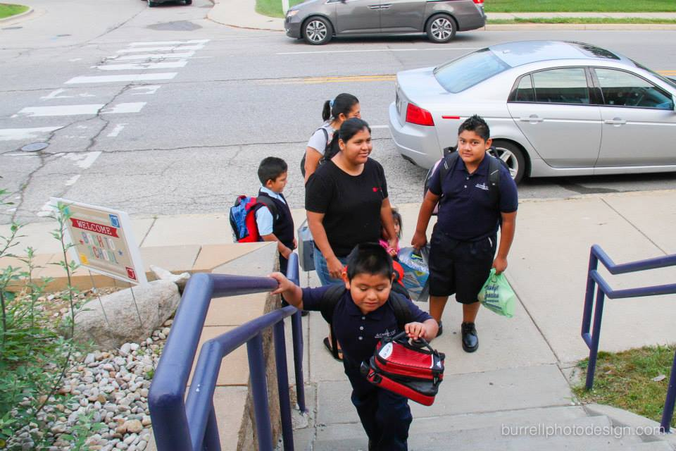 The Juan family makes their way up the stairs ready for the first day of school. #back2school2014