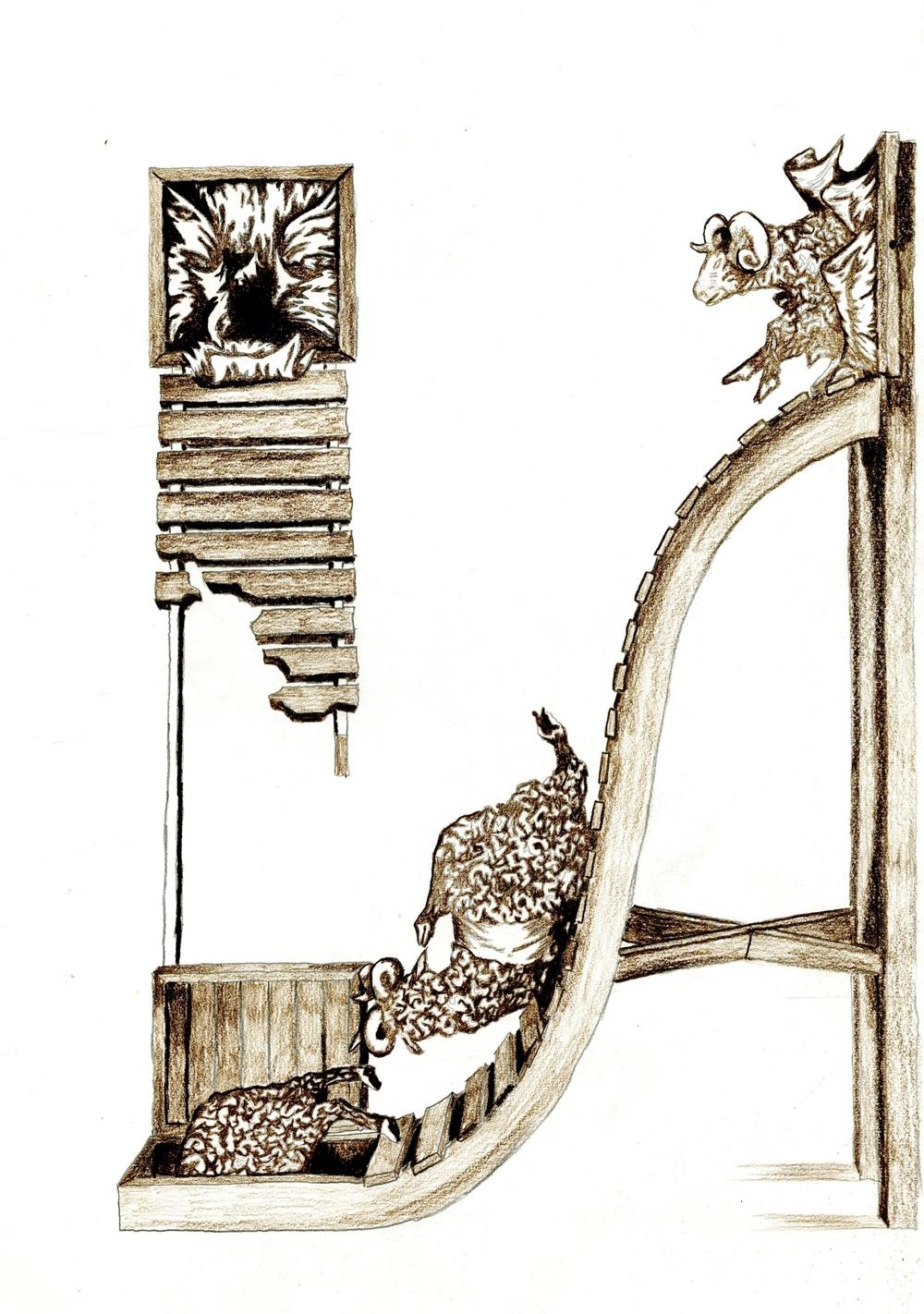 Study of Les Kossatz's Hard Slide. Brown Pencil. ©Steven Chu