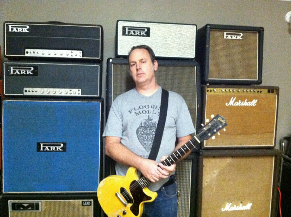 Adam Grimm  (Satellite Amps) and part of his Marshall and Park collection. With his brand new Park Top Mount Limited Edition 45 front and center.
