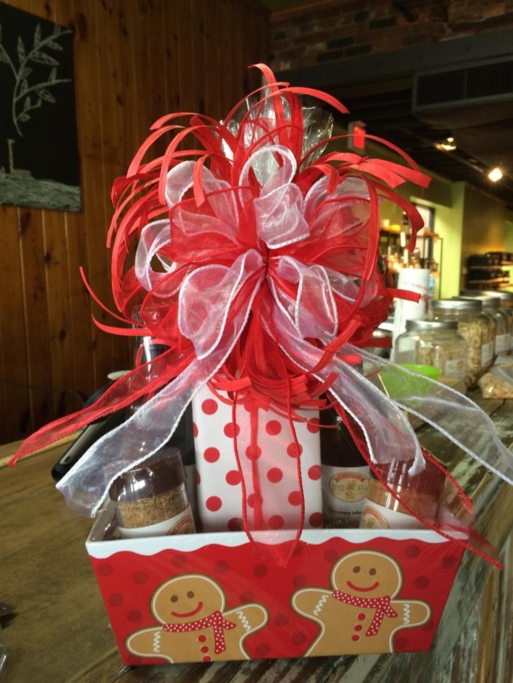 A cheerful Christmas gift basket