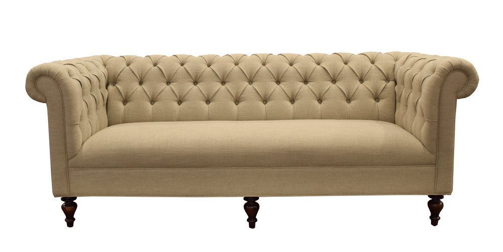The Classic Chesterfield: a much-beloved favorite around the world.  Our version features a tight seat, diamond tufting, and turned legs.  Can be done with or without nailhead, but we like it best without.  Standard lengths include 250, 230 (shown here), and 200.