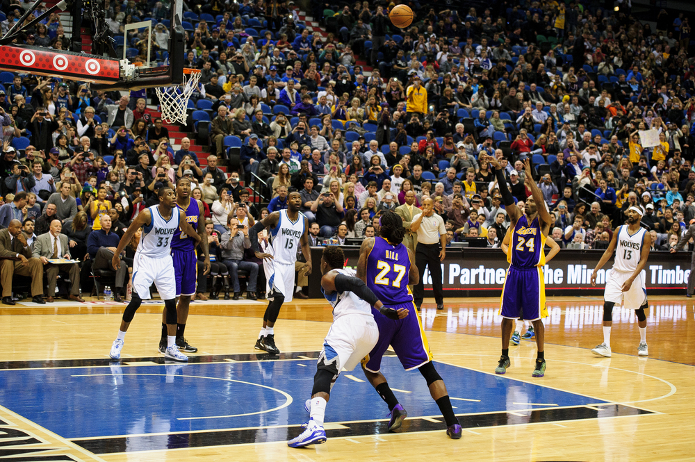 MINNEAPOLIS, MN - DECEMBER 14:  of the game on December 14, 2014 at Target Center in Minneapolis, Minnesota. Bryant passed Michael Jordan on the all-time scoring list with a free throw in the second quarter. NOTE TO USER: User expressly acknowledges and agrees that, by downloading and or using this Photograph, user is consenting to the terms and conditions of the Getty Images License Agreement. (Photo by Hannah Foslien/Getty Images)