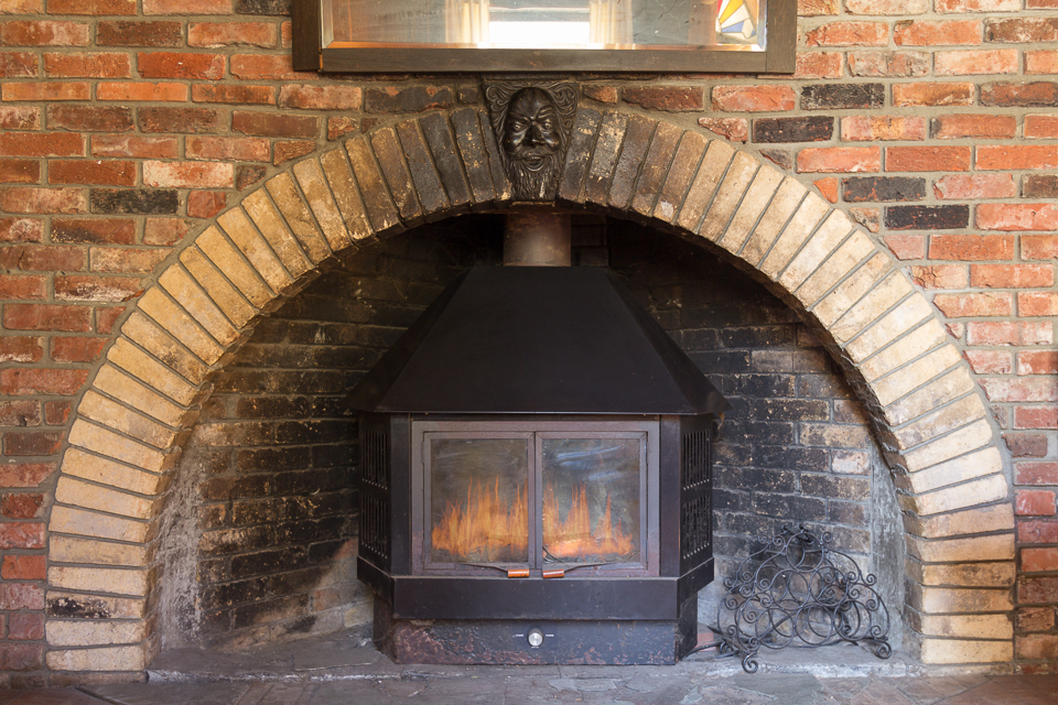 One of the Earth house's fireplaces.