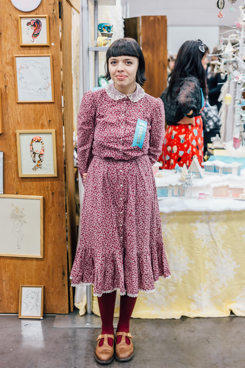This gal's look reminds me of the previous decade of Portland, when vintage thirft store dresses were all the rage. Kind of a country schoolgirl look, love it!