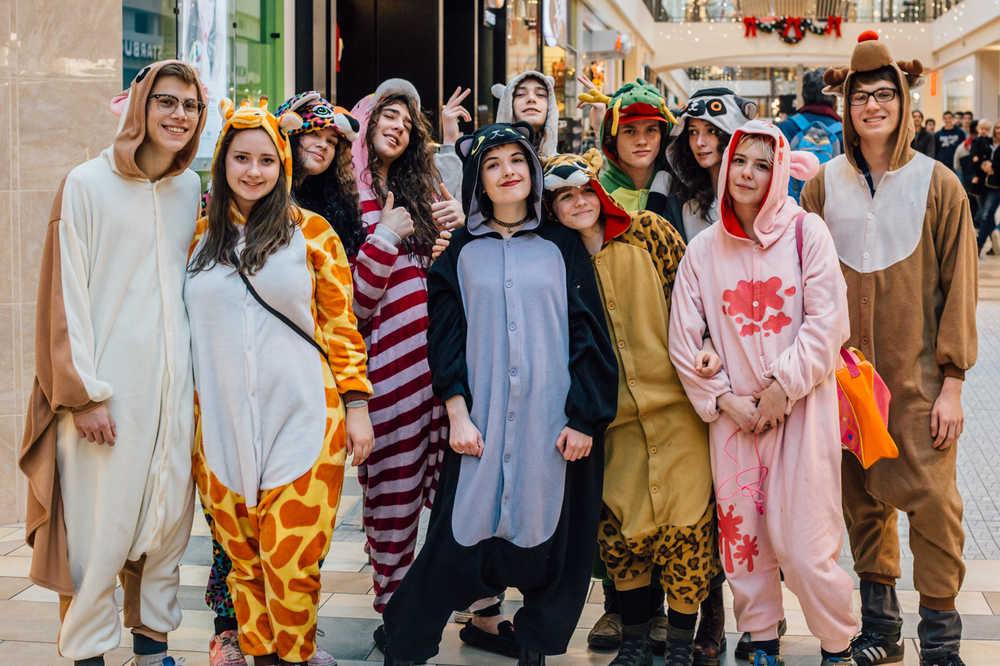 Apparently this group dresses up in animal outfits every year to get photos with Santa Clause. HIgh school fun! It's a lot easier to go out in public dressed in a bizarre outfit as a group, that's for sure.