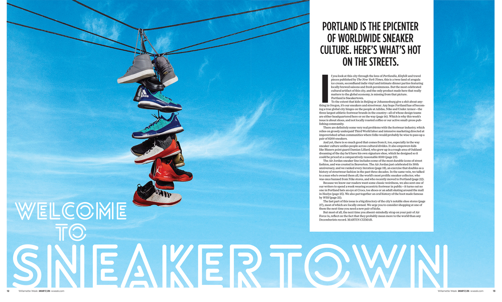 I supplied the image of shoes, Art Director Julie Showers provided the sky.