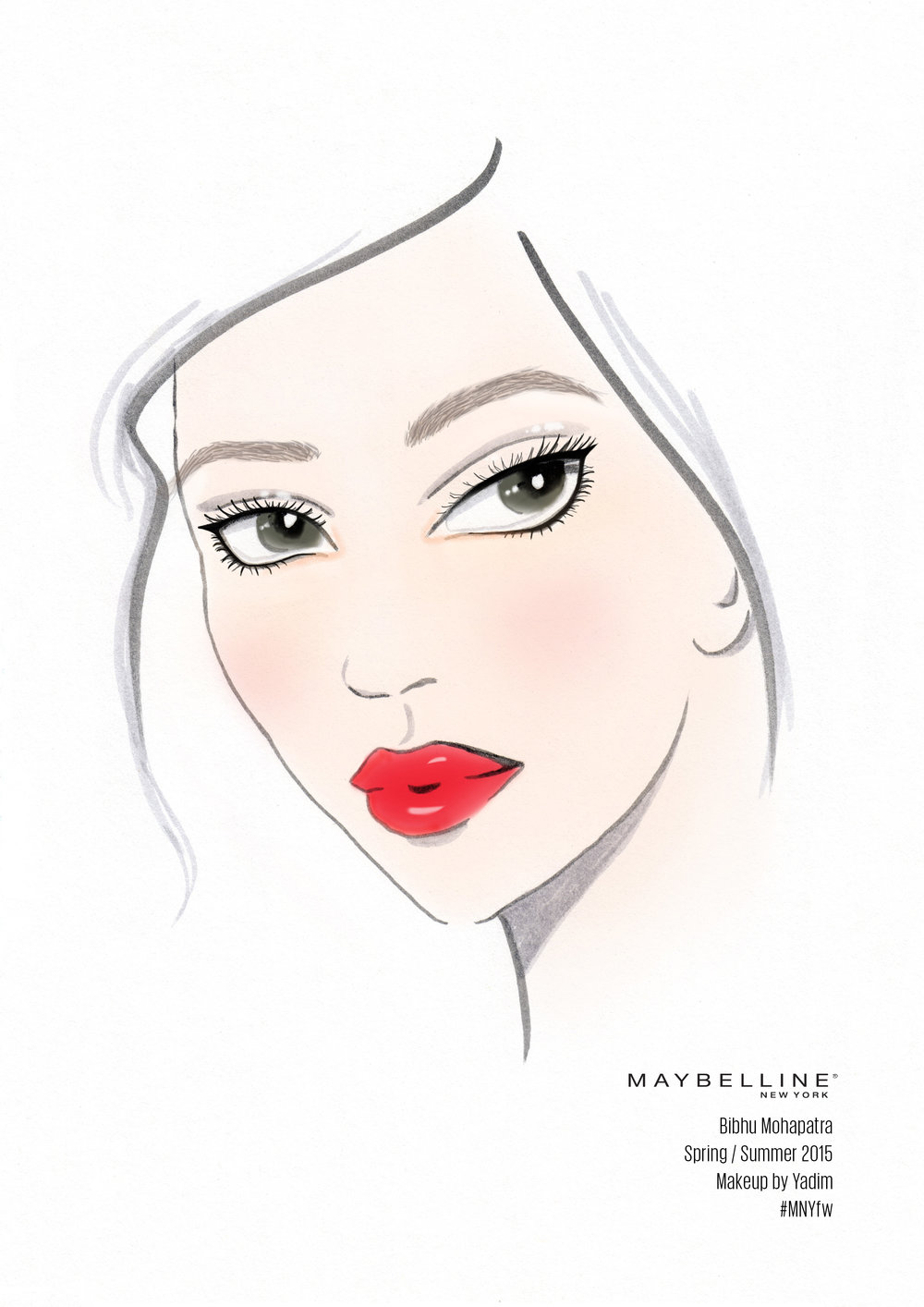 NYFW Face chart for Maybelline