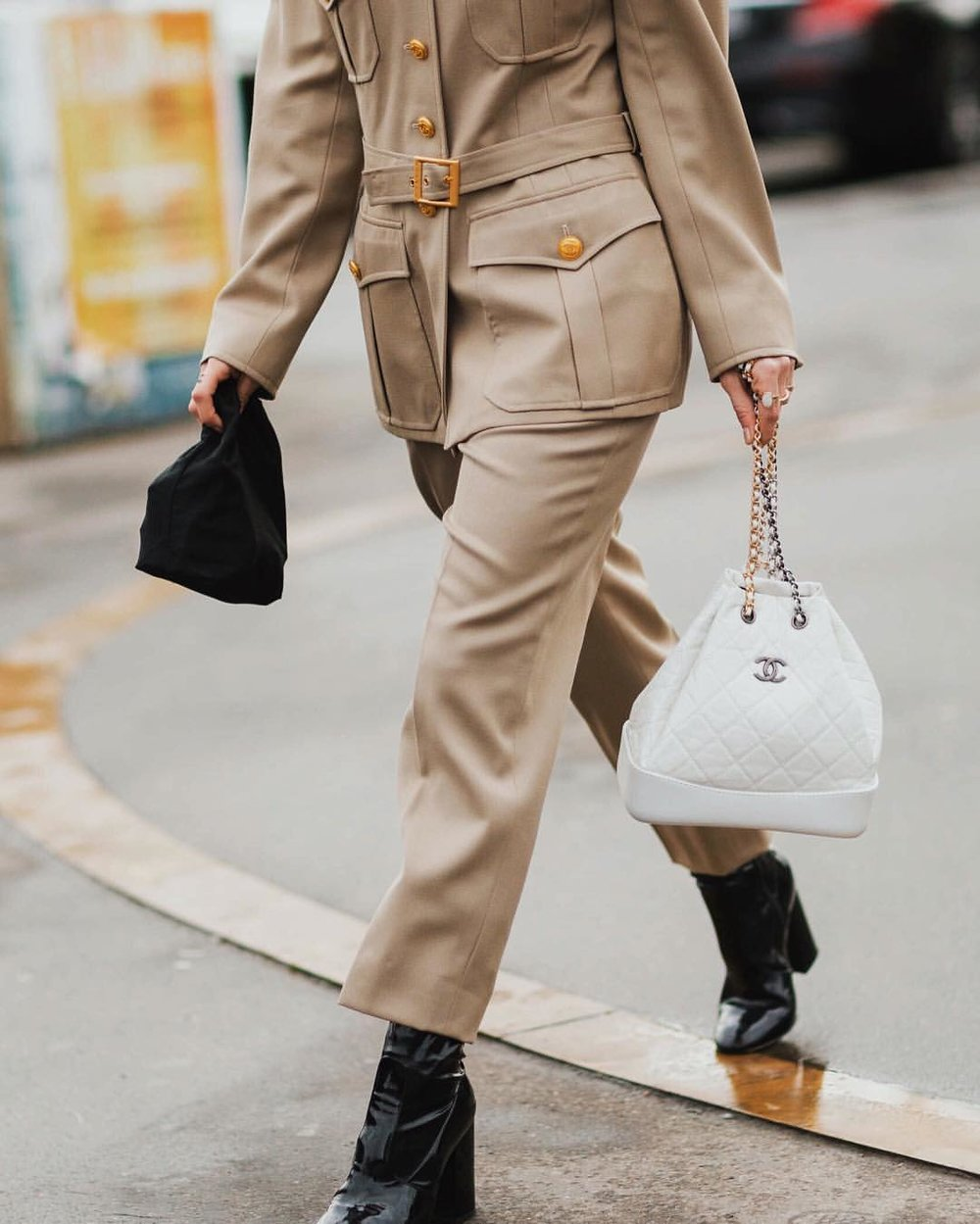 alwaysjudgingblog: Leaving @chanelofficial wearing a vintage Chanel suit via @eraluxe and the new Gabrielle backpack 🎒 #Chanel