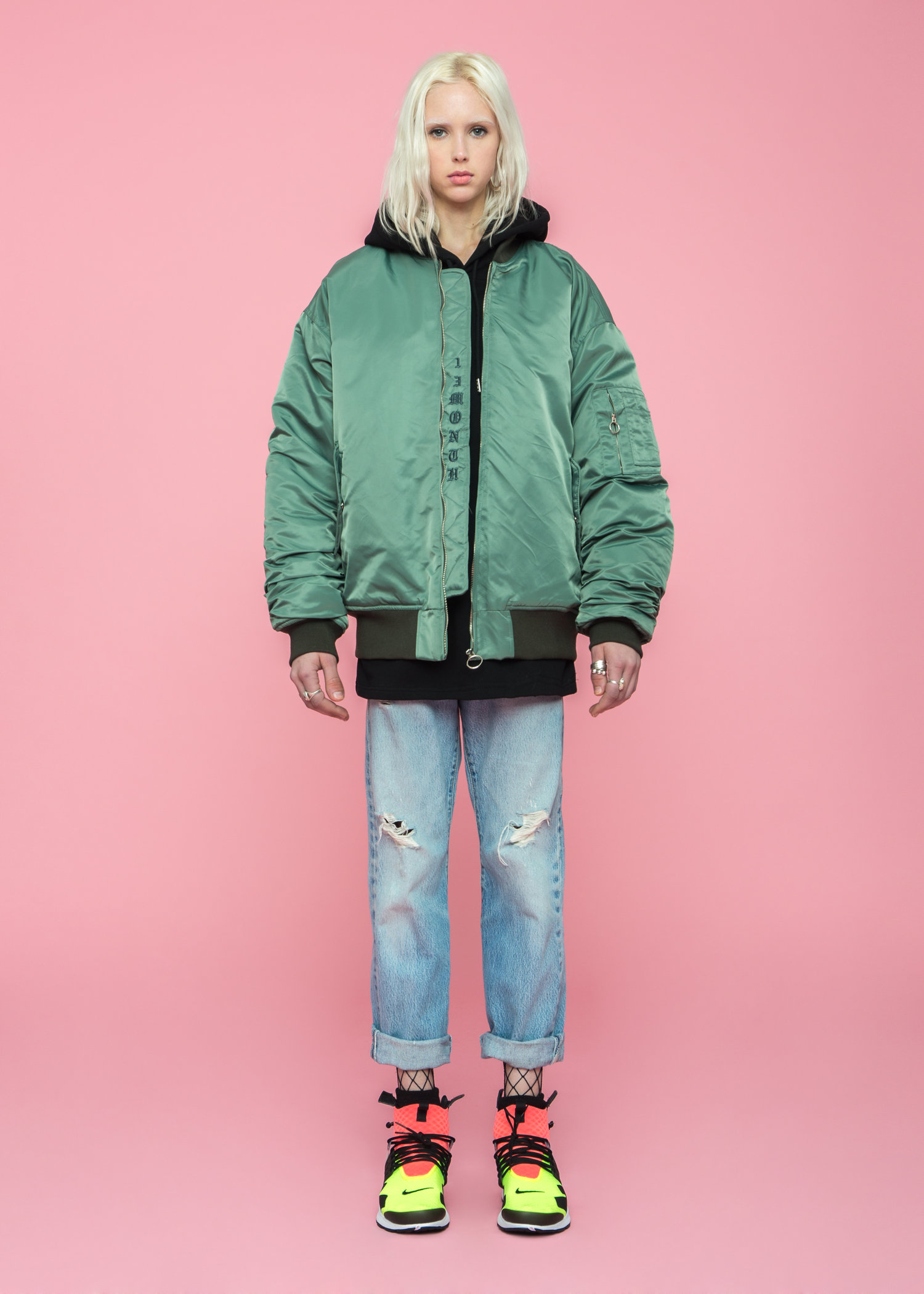 13 MONTH – OVERSIZED BOMBER JACKET – GREEN — FIG COLLECTIVE
