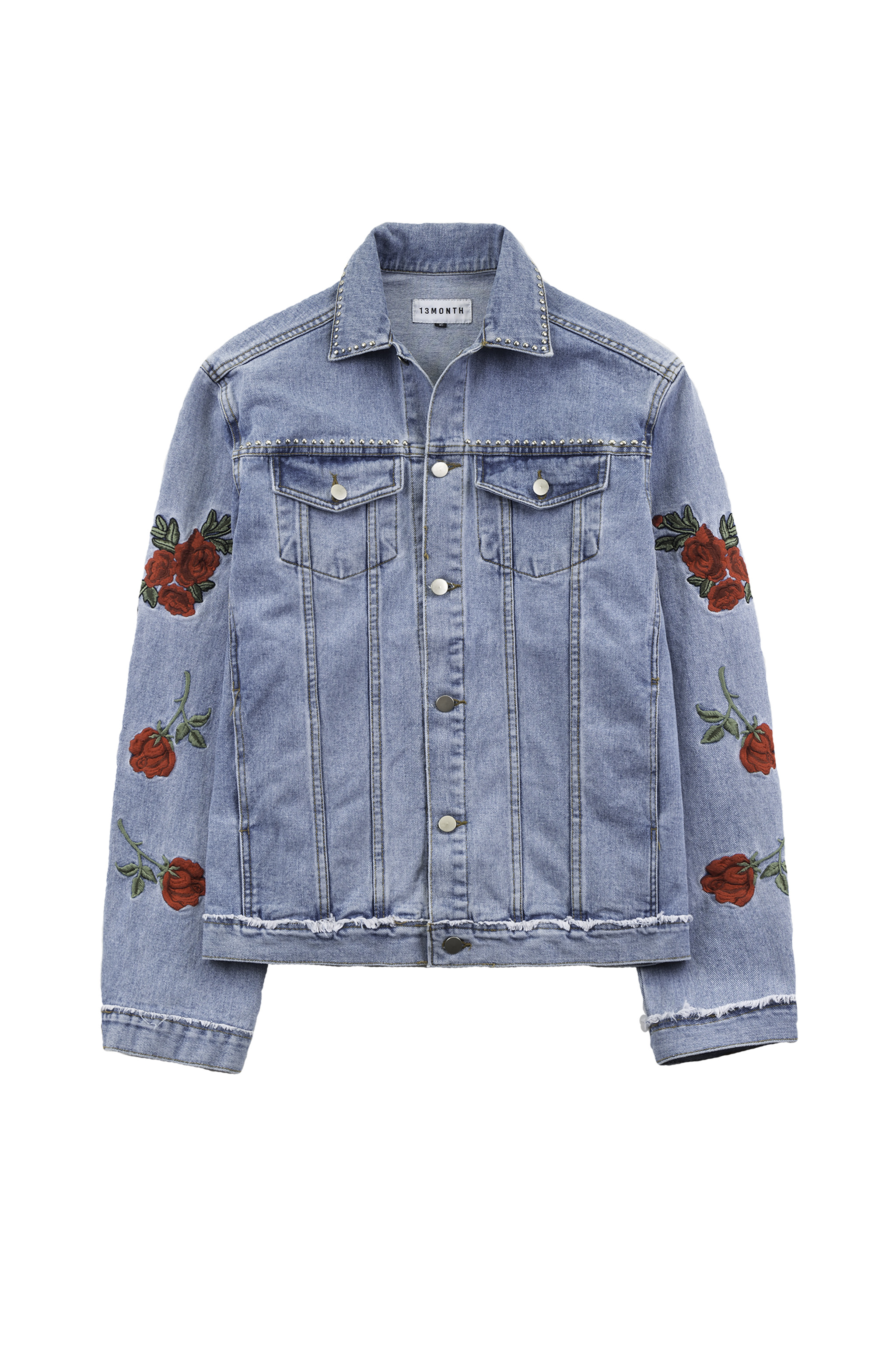 JACKET DENIM EMBROIDERED ROSE 13 FIG OVERSIZED MONTH COLLECTIVE xUzfXI