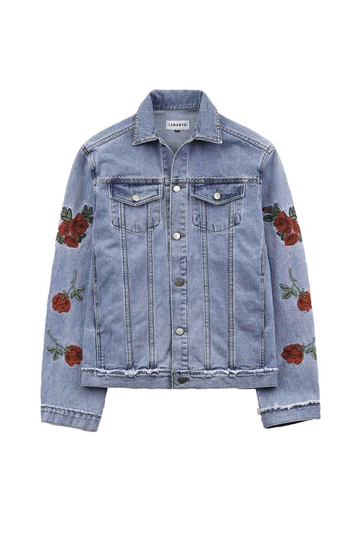 13 Month Rose Embroidered Oversized Denim Jacket Fig