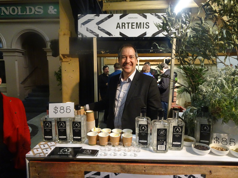 Artemis co-creator Sebastian Reaburn all prepped to talk all things Artemis gin, launched mere weeks prior to Junipalooza.