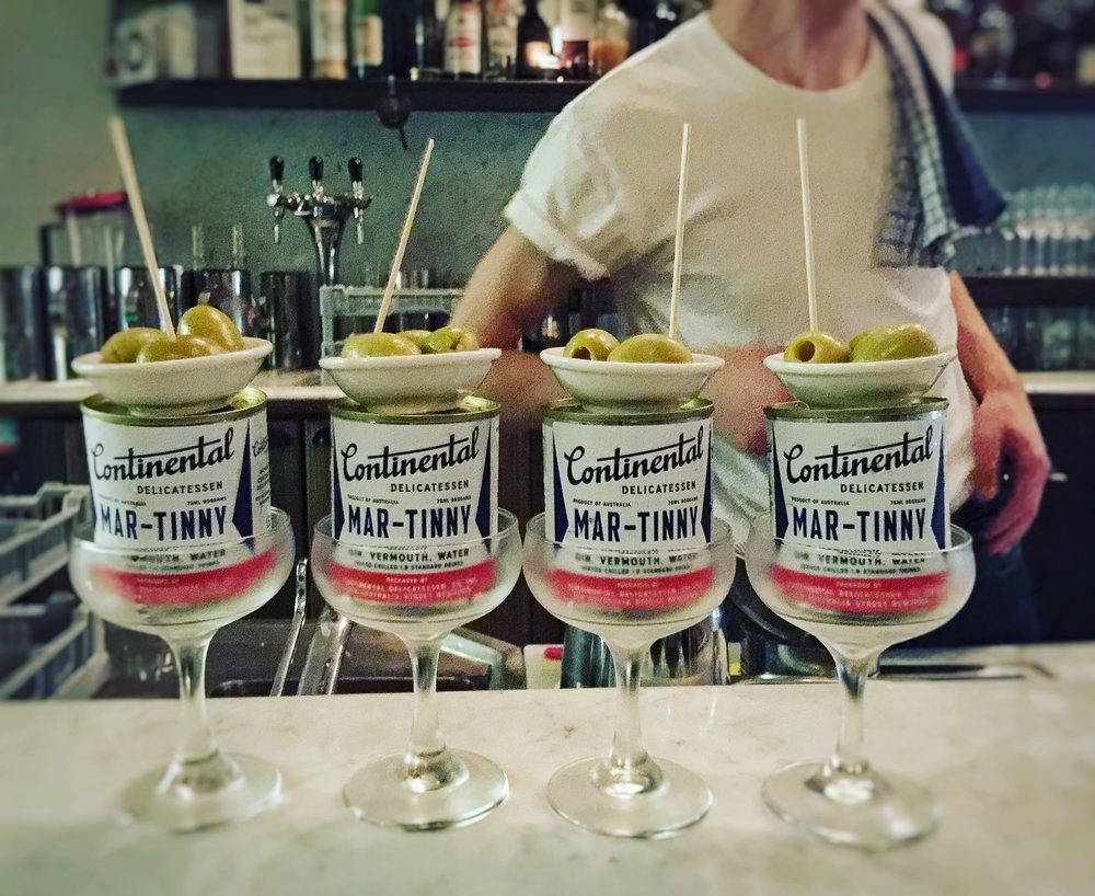 Continental Deli martinny martinis in a row
