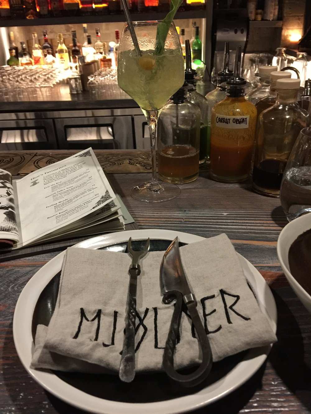 Pull up a seat and have a cocktail at Mjolner bar and restaurant
