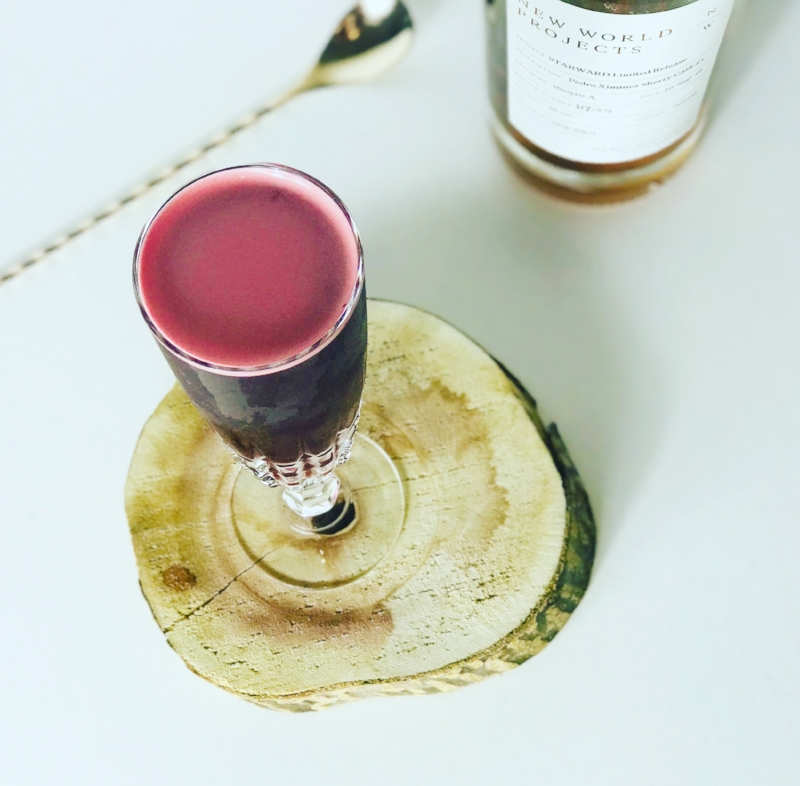 Beetroot juice combines with whisky, vermouth, chocolate liqueur and port to make up a rich Manhattan cocktail variation