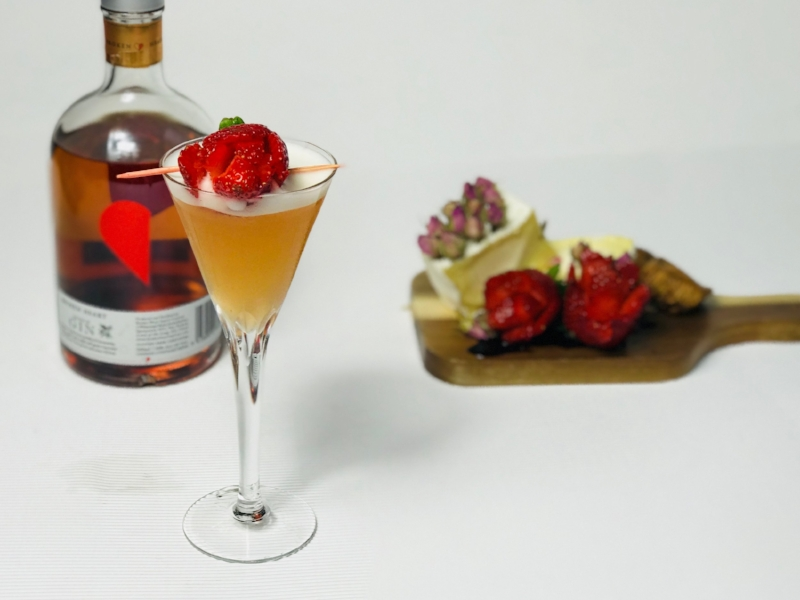 A sweet Valentine gin cocktail that combines the flavour of quince, rosewater and strawberry soda