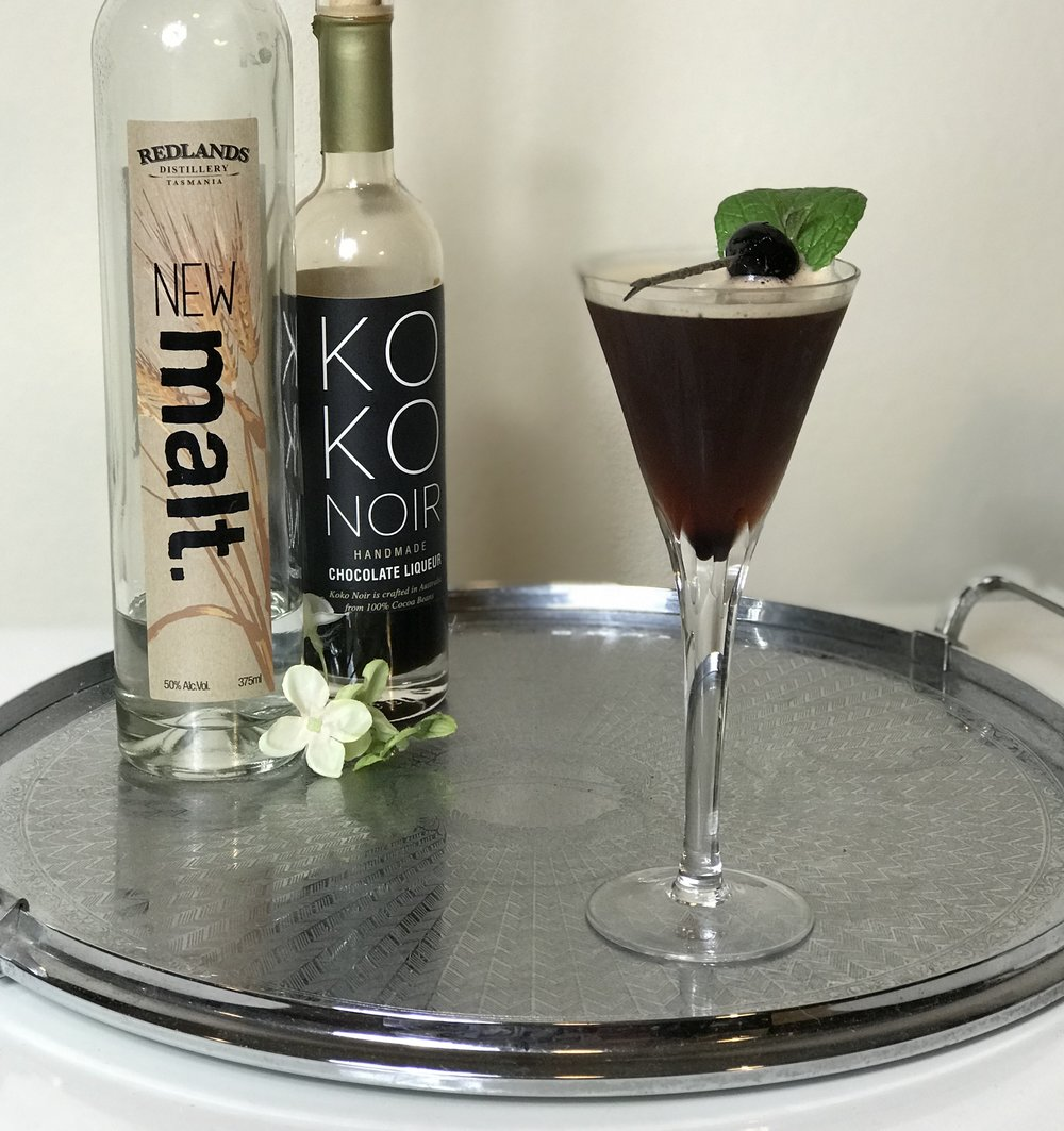 Ingredients include a new make whisky, chocolate liqueur and cherry liqueur