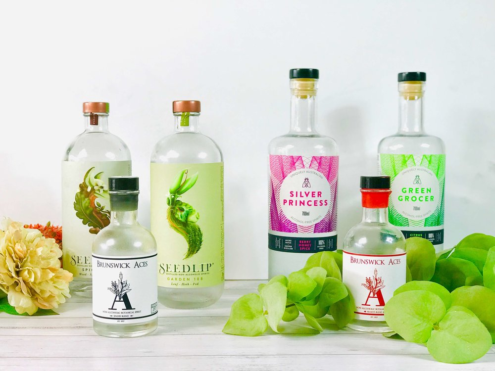 Seedlip, Brunswick Aces and Altd Spirits Alcohol Free Gin Non Alcoholic Spirits