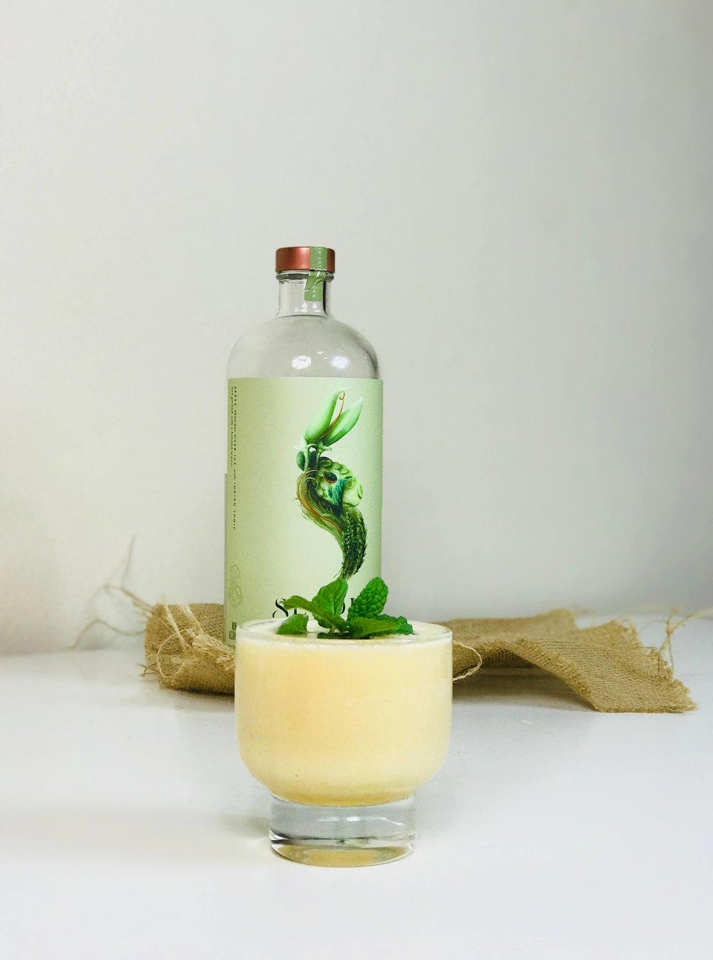 Seedlip Garden creamy flip cocktail
