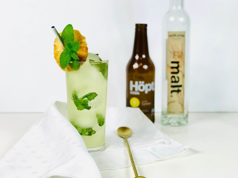 A salty lychee soda combined with pineapple juice and malt spirit makes for an unusual lychee cocktail