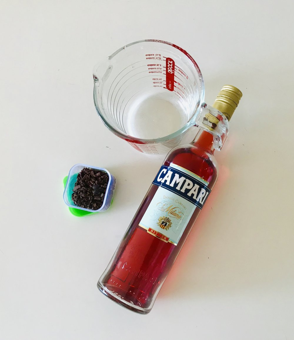 Cocoa nib infused Campari - here's what you'll need