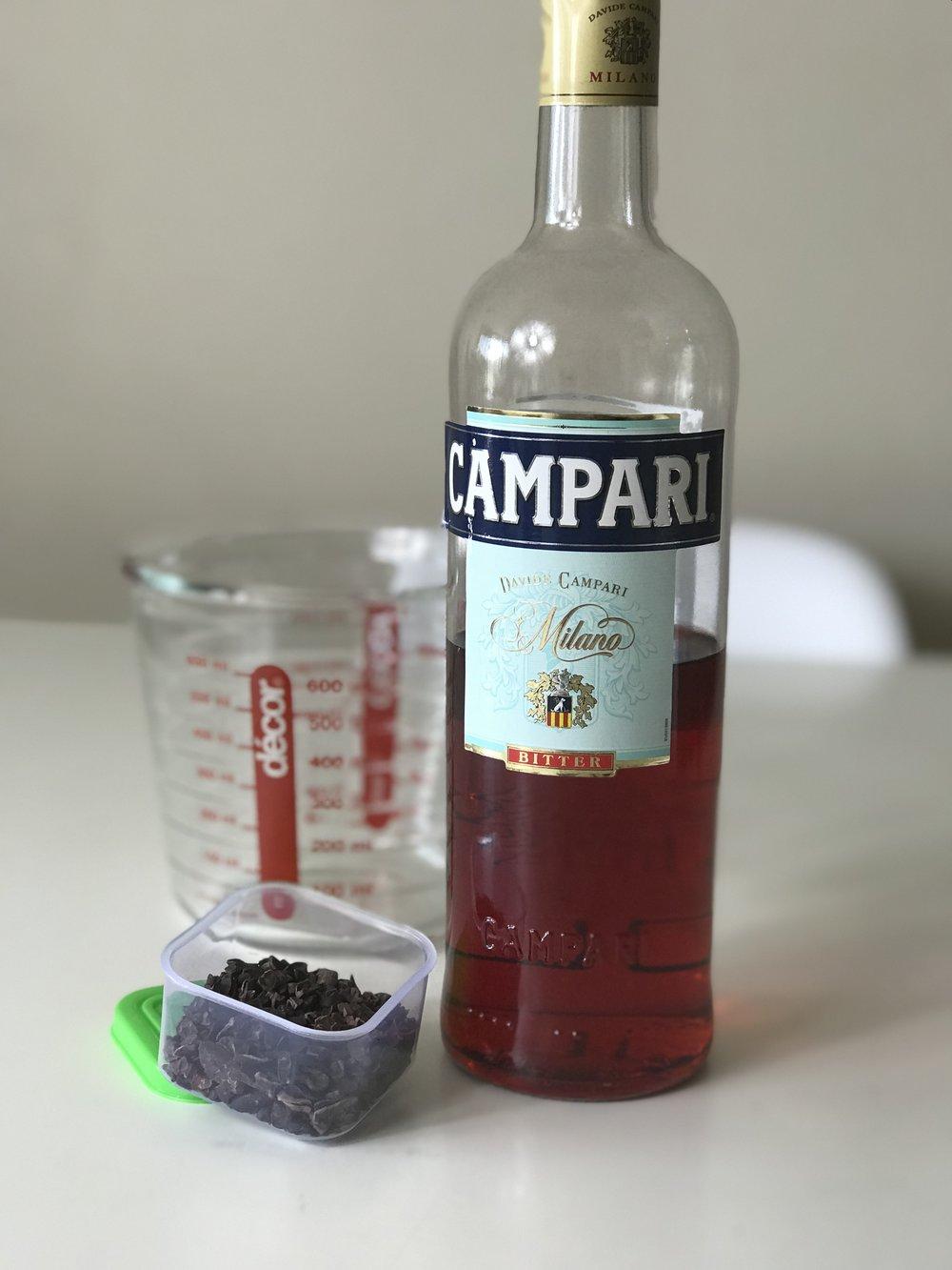 Cacao nib infused Campari