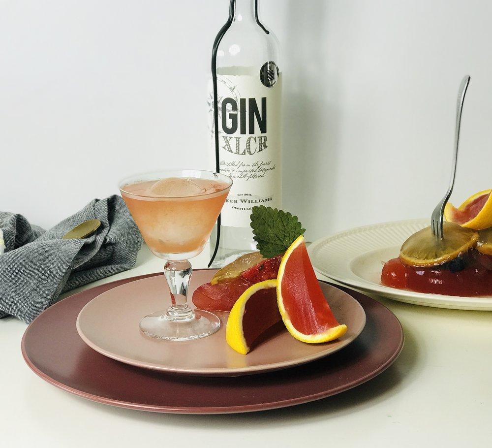 Orange Negroni cocktail jelly