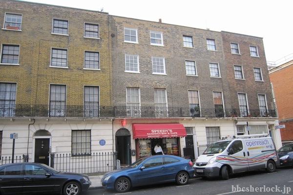 North Gower Streetにある、BBC「SHERLOCK」の221Bベイカーストリート 建物(2010年12月)