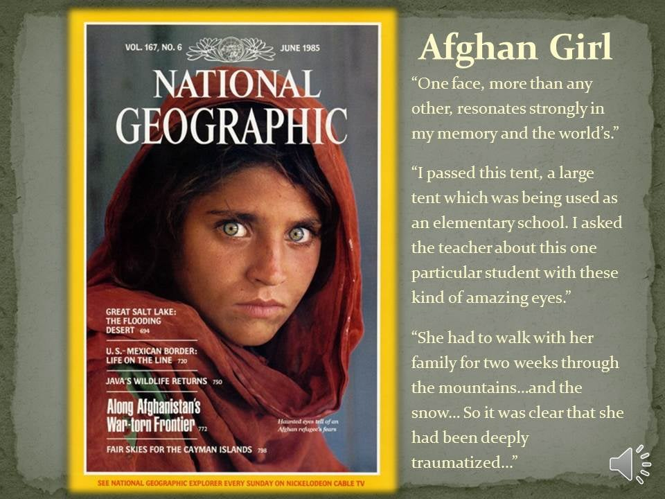 ©Steve McCurry. National Geographic Cover June 1985.
