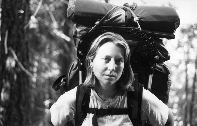 Cheryl Strayed on the PCT in southern California, June 1995. Photo from http://www.cherylstrayed.com/wild_108676.htm.