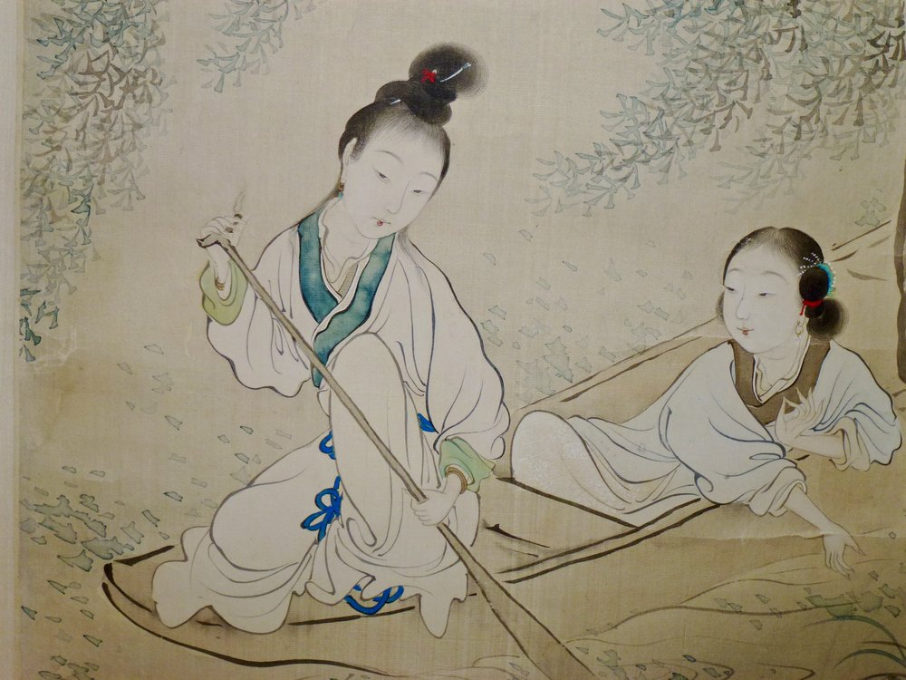 The Two Ladies in a Boat    Hanging Scroll by Fei Danxu (1801-1850)