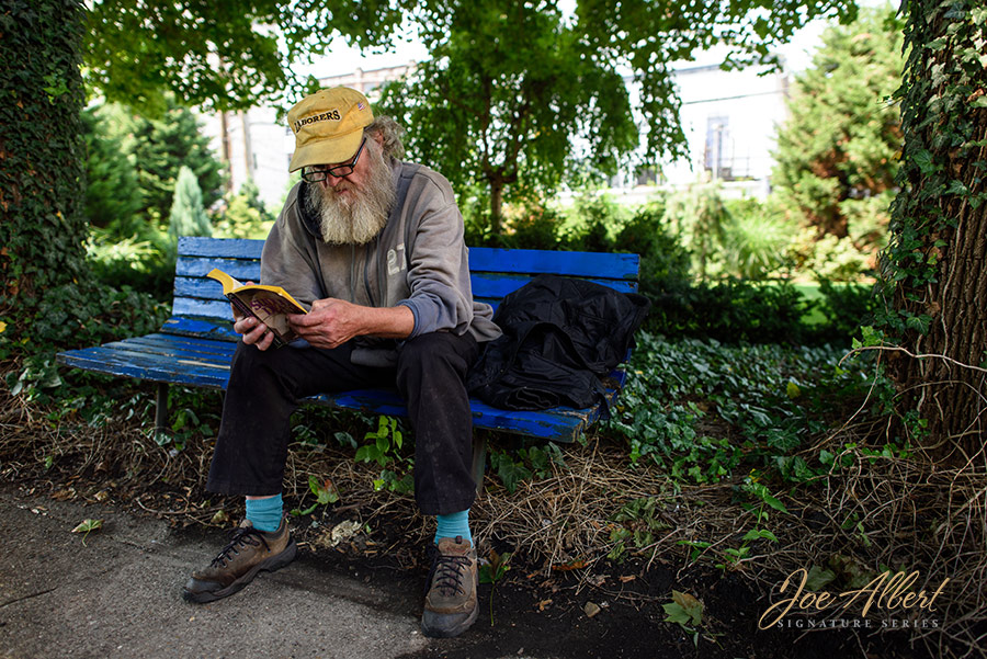 Meet Patrick, he was sitting outside St. Patricks, reading a book