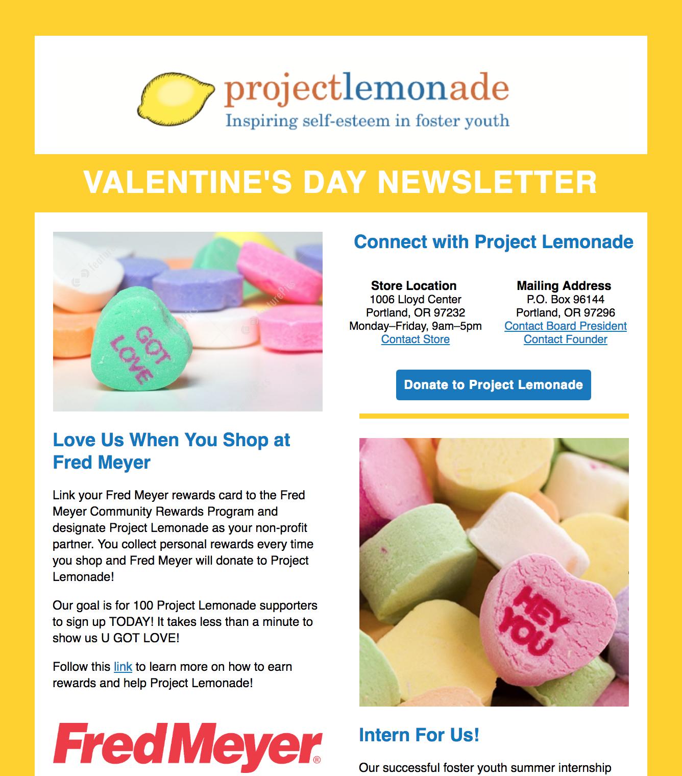 Valentine S Day Newsletter Project Lemonade Inspiring Self Esteem