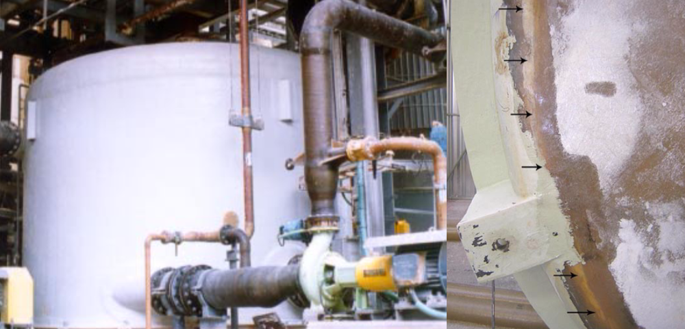 LEFT: FRP tank and piping by ARMATEC at Pulp & Paper site handling bleach filtrate. Tank handles over-pressurisation from filters on floor above. RIGHT: Tank by others has crack in tank bottom knuckle due to incorrect lug design