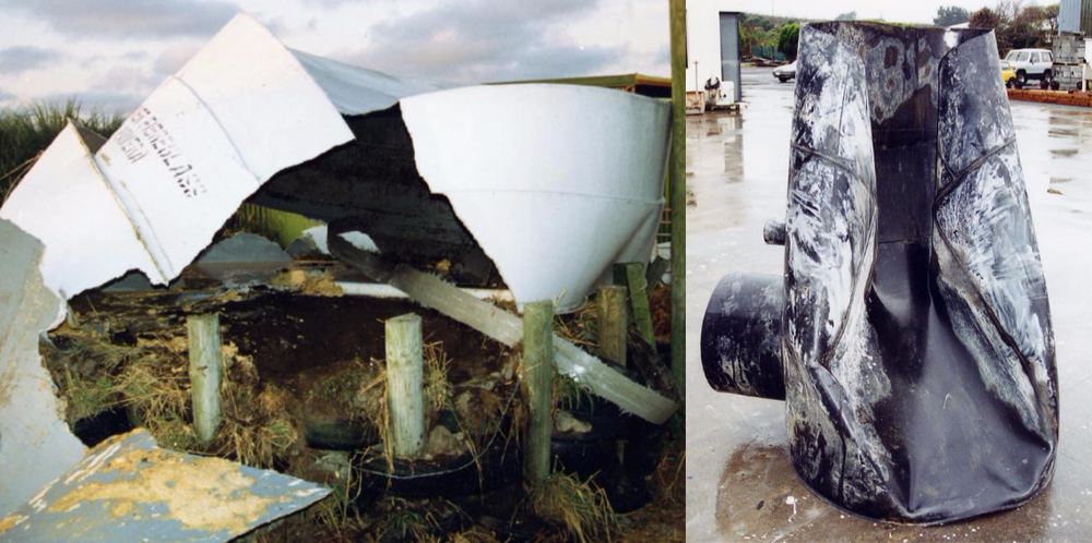 LEFT: Fibreglass tank failure can be sudden and dramatic. Failure initiated from stress point 3 years after installation. Tank by another manufacturer. RIGHT: Polyethylene manhole failed under buried load at temperature.