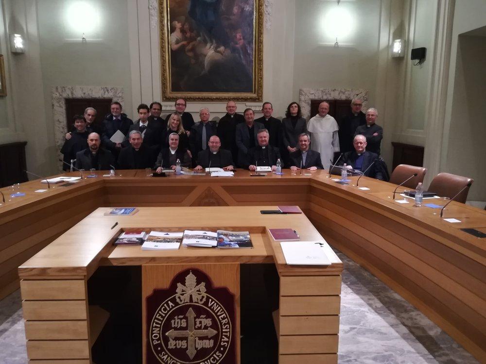 I Rettori ed i Coordinatori SUPR riuniti nell'Aula Benedetto XVI della Pontificia Università della Santa Croce