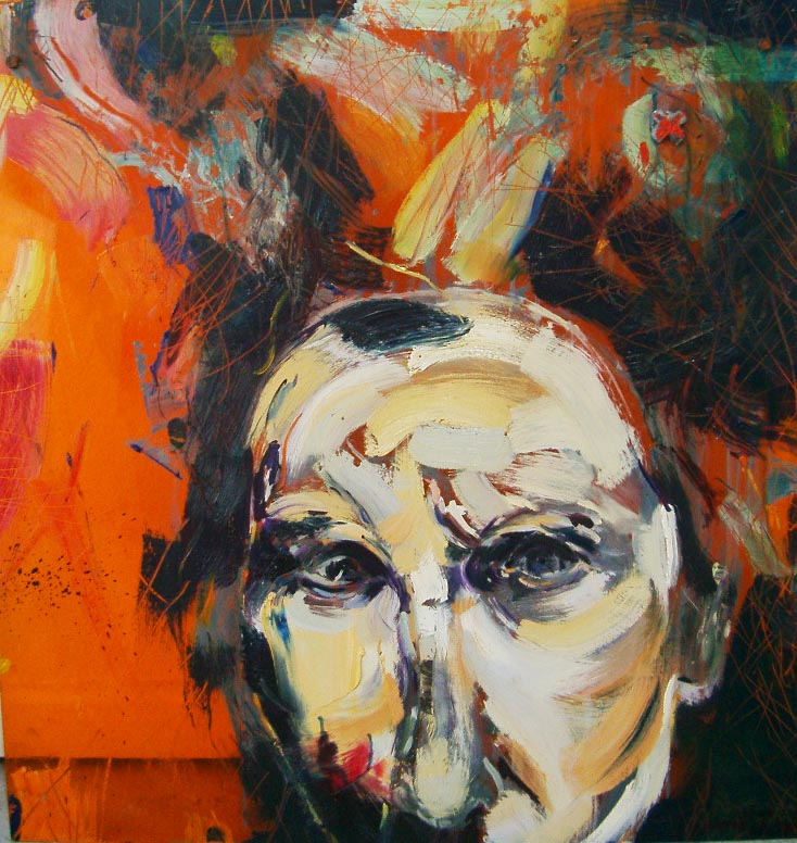 Confronting Reality    Oil on acrylic sheet    622 X 690mm    2001