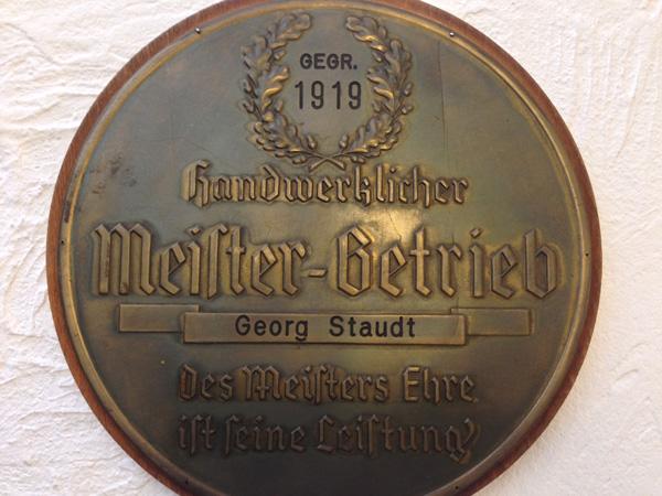 Meisterplakette von Georg Staudt sr.