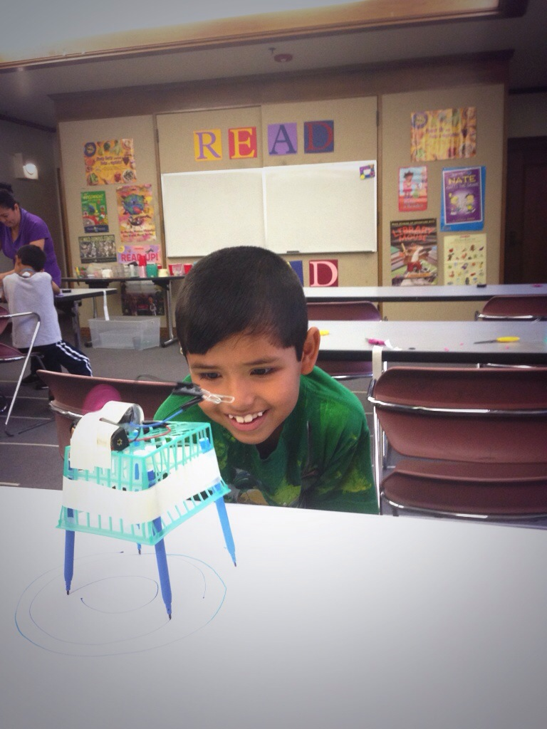 A Scribble Bots workshop at Lincoln Heights Branch Library.