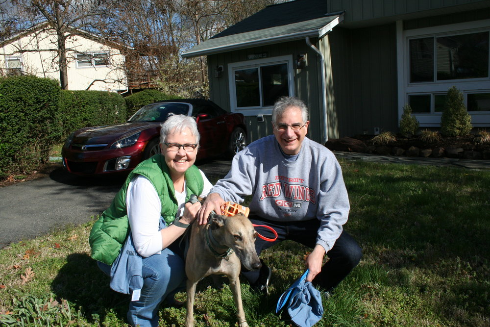 Kelli and Raymond adopted a real lap dog, Helen, a dark fawn with a gorgeous striped tail.